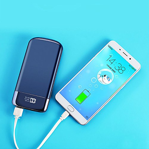M.E.R.A. 50000mah Power Bank, Portable LCD, 2 USB, LED Screen, Battery Charger For Mobile Phone, Black, Gem Blue, Rose Gold Power Bank. (Gem Blue)