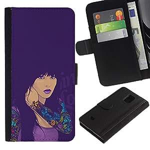 EJOY---Tirón de la caja Cartera de cuero con ranuras para tarjetas / Samsung Galaxy S5 Mini, SM-G800 / --CHICA SEXY TATUAJE