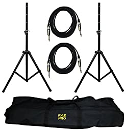 PYLE-PRO PMDK102 - Heavy-Duty Aluminum Anodizing Dual Speaker Stand & 1/4\'\' Cable Kit