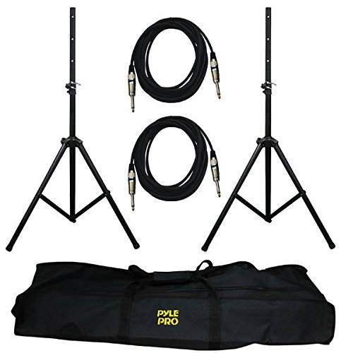 Pyle Stage & Studio DJ Speaker Stand Kit - Pro Audio PA Loudspeaker Stands & Audio Cable, Storage...