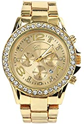 Brothers-usa Geneva Luxury Alloy Diamond Watch with Calendar (Gold)
