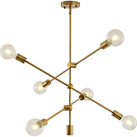 Sputnik Chandelier Lighting Fixture 6 Light Brushed Brass Finish Mid Century Modern Pendant Lighting Industrial Vintage Semi Flush Mount Ceiling
