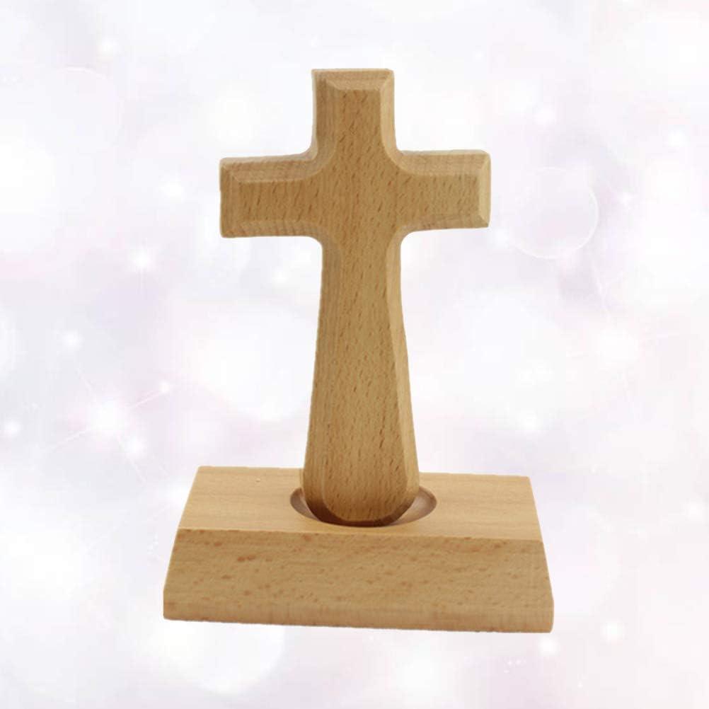 VOSAREA Lateinamerikanisches Kreuz aus Holz christliches katholisches Kreuz f/ür Heimdekoration stehendes Kreuz aus Holz