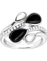 1/5 ct Natural White Topaz, Onyx & Mother-of-Pearl Ring in Sterling Silver