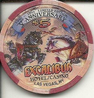 $5 excalibur anniversary las vegas casino chip