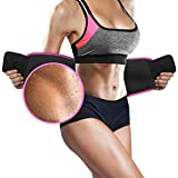 Pink Waist Trimmer Belt by 10xSWEAT - Weight Loss Wrap - Stomach Fat Burner - Low Back and Lumbar Support with Sauna Suit Effect - Best Abdominal Trainer