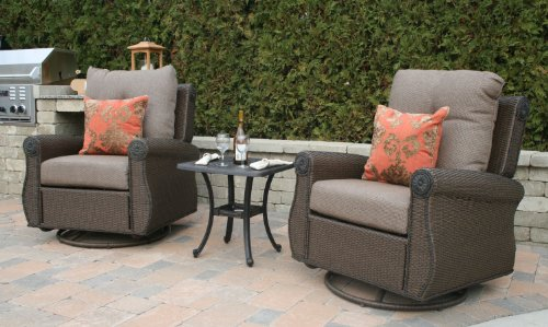 The Giovanna Collection All Weather Wicker/Cast Aluminum Deep Seating Chat Set ()