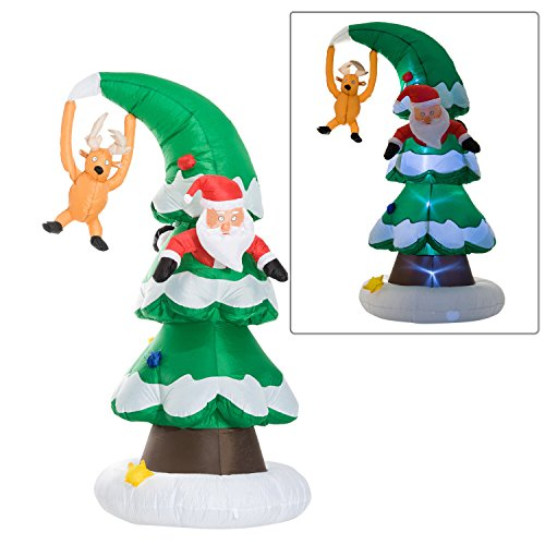 7' Santa Claus Stuck In A Christmas Tree LED Lighted Outdoor Air Blown Inflatable Yard Decoration (Blown Christmas Tree Air)