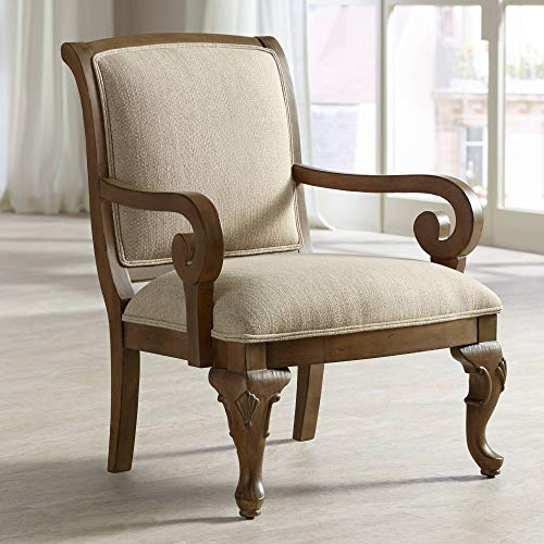 (Diana Distressed Wood and Beige Upholstered Accent Chair - Kensington Hill)