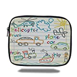 Laptop Sleeve Case,Educational,Childs Drawing of Colorful Transport Icons Notebook Page Background Print Decorative,Multicolor,iPad Bag