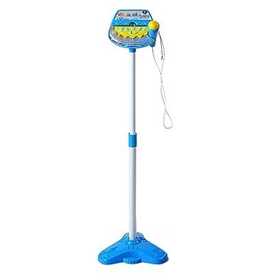 Yvsoo Karaoke Micrófono, Micrófono para Niños con Soporte Micrófono Máquina Juguetes Musicales para Kidi Super Star (Azul)