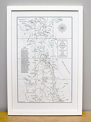 The John Muir Trail and the High Sierra, Letterpress Map Unframed Print