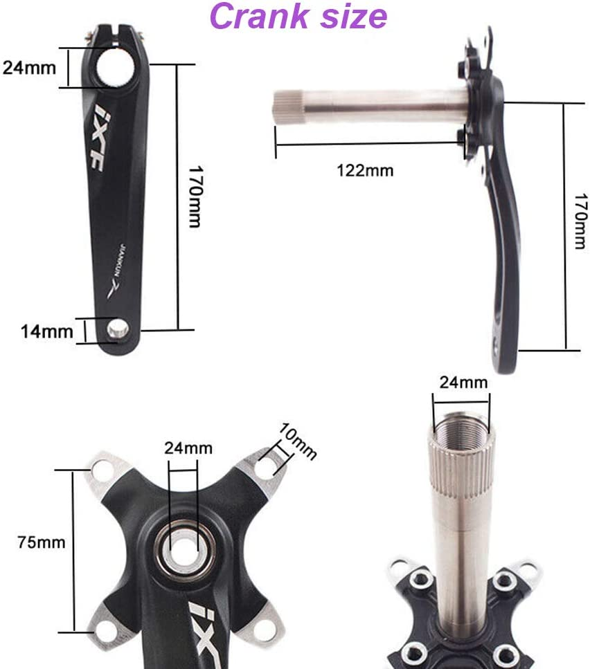 JIANKUN 【US Shipping Bike Crank 104 BCD 170mm Gaint Chainrings fit 7-11S Single//Double//Triple Shimano FSA Mountain Bike Cranks Arm Set AL Bottom Bracket Chainring Bolts for MTB Road Bicyle