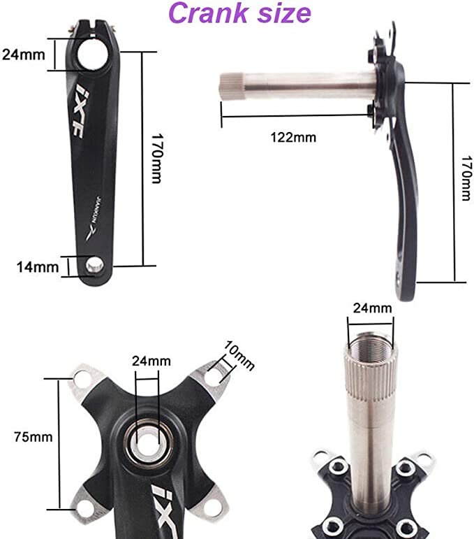 IXF MTB Road Bike Crankset 104BCD 170mm Crank Bicycle Chainset Bottom Brackets