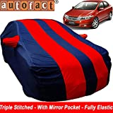 Autofact Car Body Cover for Honda City Ivtech (2009 to 2013) (Mirror Pocket , Premium Fabric , Triple Stiched , Fully Elastic , Red / Blue Color)