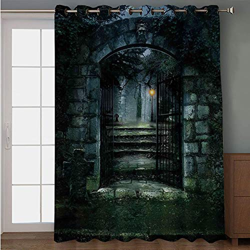 Blackout Patio Door Curtain,Gothic Decor,Illustration of The Gate of a Dark Old Haunted House Cemetary Dead Myst Fiction Art Print,Grey Green,for Sliding & Patio Doors, 102