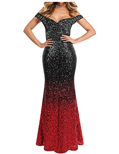 Mermaid Off Shoulder Gradient Sequins Long Evening Dress Prom Gown Black and Red US18W -