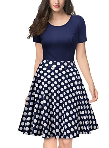 Miusol Women's Casual Flare Floral Contrast Sleeveless Party Mini Dress (Large, Polka Dot)