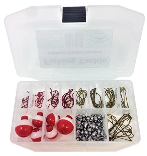 - Fishing Tackle Kit 140 Pieces Fishing Hooks Fishing Sinkers Fishing Bobbers in a Fishing Tackle Box