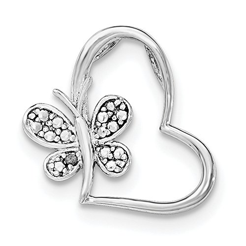 (925 Sterling Silver Rhodium Plated Diamond Butterfly Heart Chain Slide Pendant)
