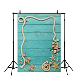 Allenjoy 5x7ft Thin Vinyl Wood Plank Backdrop Sea Green Sailboat Deck Board Rigging Parts Undersea Pattern Background for Babies Photography or Decoration