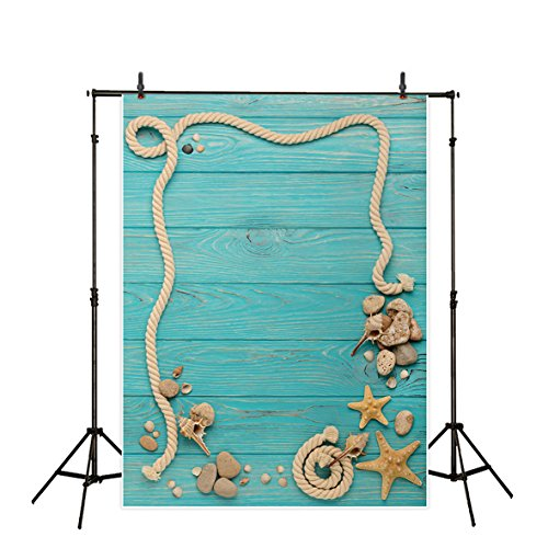 Allenjoy 5x7ft Thin Vinyl Wood Plank Backdrop Sea Green Sailboat Deck Board Rigging Parts Undersea Pattern Background for Babies Photography or (Undersea Backdrop)