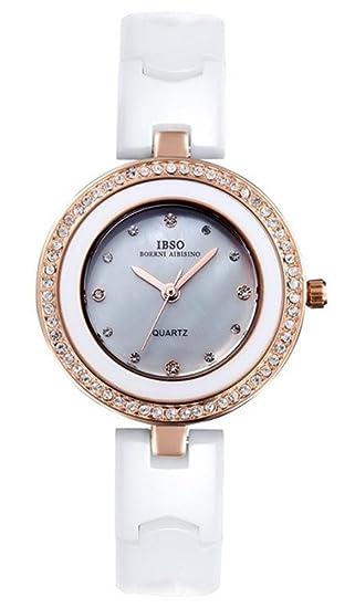 IBSO mujer cuarzo cerámica relojes de lujo marca de cerámica con diamantes de imitación mujeres reloj
