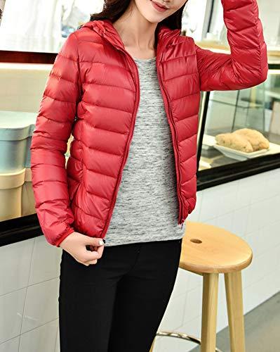 Grande Quilting Slim Fit Taille Manteau Femme Blouson Coat Hiver Rouge Capuchon Doudoune Warm U6ndWwOqa