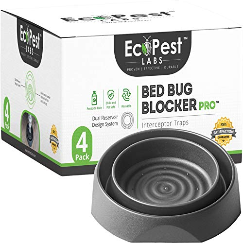 Bed Bug Interceptors - 4 Pack | Bed Bug Blocker (Pro) Interceptor Traps (Black) | Eco Friendly Insect Trap for Bed Legs | No Chemicals or Pesticides | Monitor, Detector, and Trap for Bed Bugs