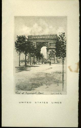 United States Lines S S Washington Dinner Menu 7/29 1936 Arc de Triomphe