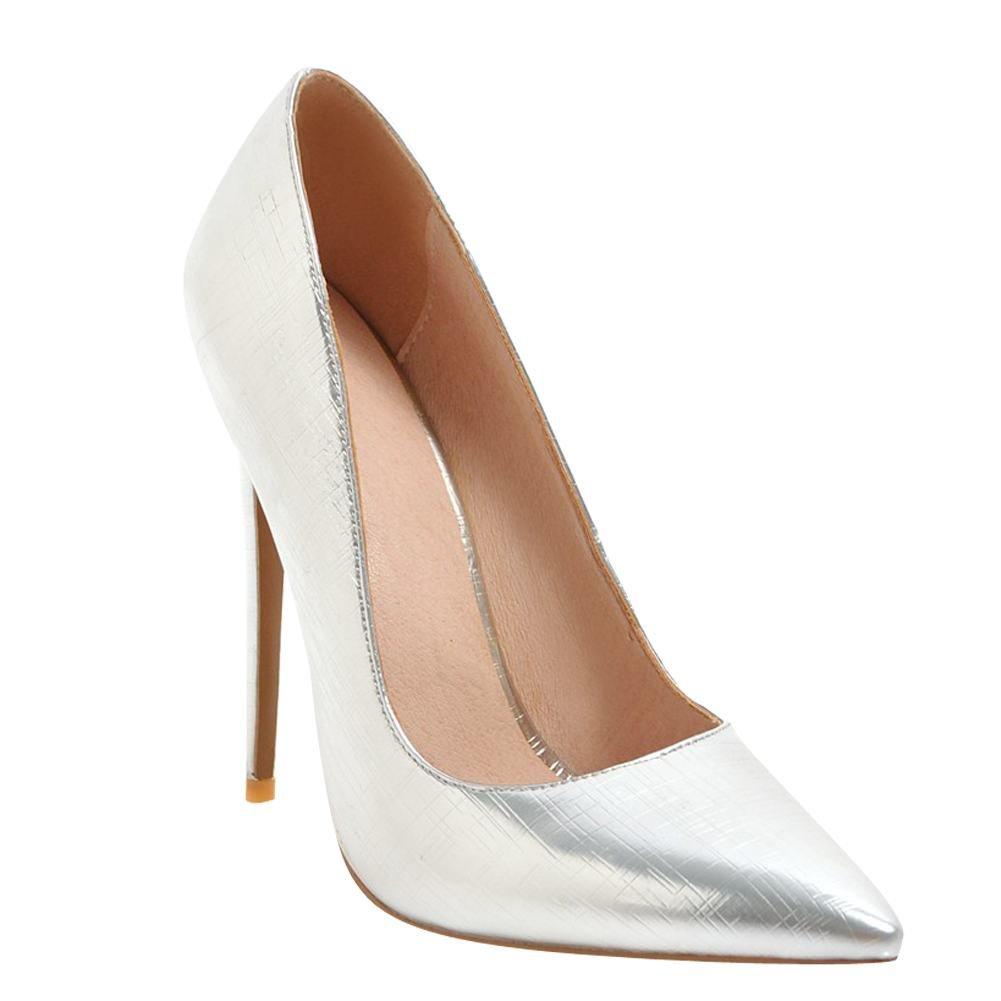 MissSaSa Donna Elegante High-Heels ScarpeArgento