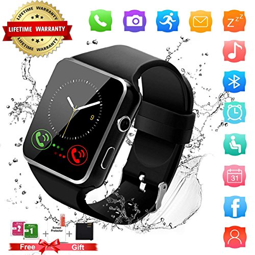 Smart Watch,Bluetooth Smartwatch Touch Screen Wrist Watch with Camera/SIM Card Slot Waterproof Android Smart Watch Sports Fitness Watch for Android iPhone IOS Samsung Phones Watch Men Women Kids Black by Topffy