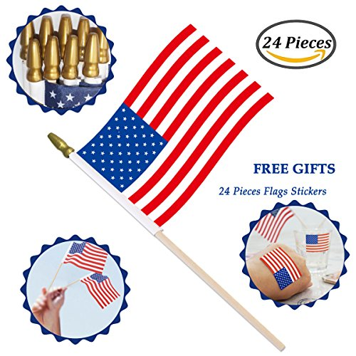 Small American Flag on Stick, 4x6 Inch Hand Held Mini US Flags with Gold Top, Decorations Supplies For 4th of July, Memorial Day, Independence Day, Christmas Tree (24 Pack USA - Poster Small Day
