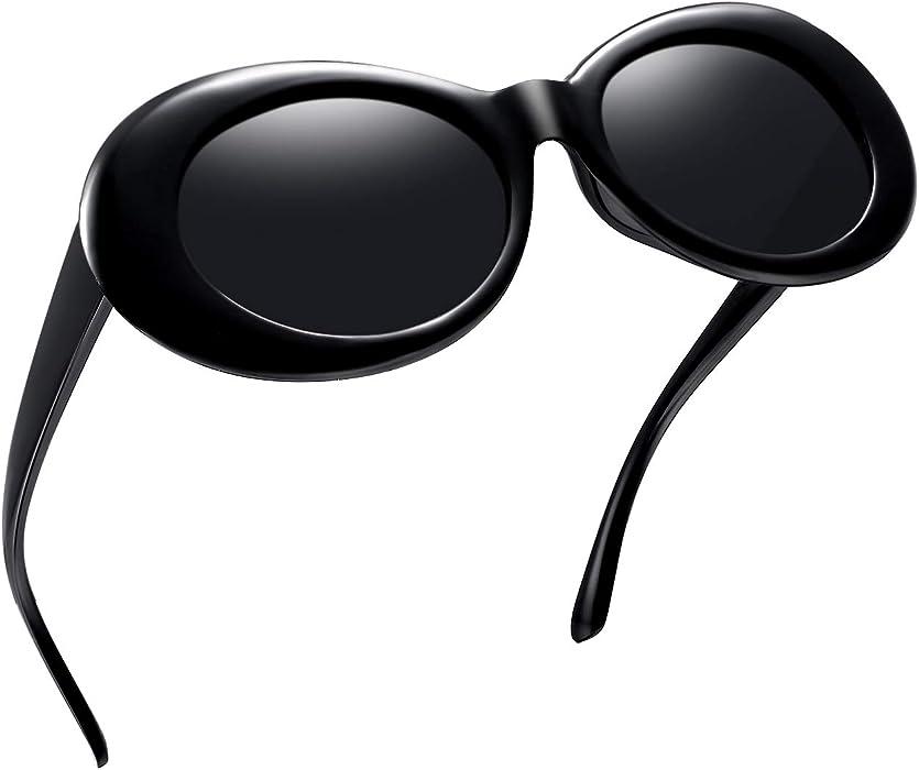 5e960635ea Joopin Polarized Clout Oval Goggles - Bold Retro Sun Glasses Mod Sunglasses  for Women Men E8963