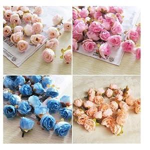 XGM GOU 100Pcs/Pack Solid Colors Small Tea Rose Heads Wholesale Cream Flower Buds Artificial Silk Flowers DIY Bouquets Home Decoration 99