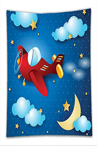 Nalahome Fleece Throw Blanket Kids Decor Cute Retro Airplane Flying at Night Sky with Moon and Stars Artisan Cartoon Print Blue Red
