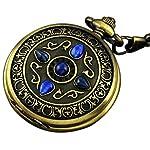 VIGOROSO Men's Vintage Noble Bronze Blue Stone Gold Skeleton Steampunk Mechanical Pocket Watch in Box 6
