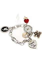 Disney Women's Happily Ever After Princesses Charm Bracelet Watch (Silver-Tone)