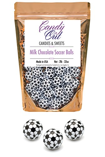 CandyOut Chocolate Soccer Balls 2 Pound - Foil Wrapped Chocolate Candy in Sealed Bag ()