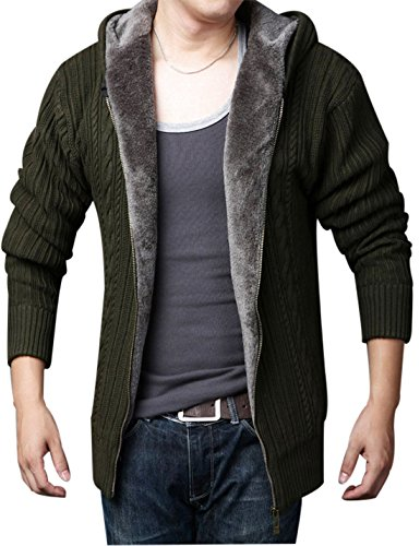Yeokou Men's Fleece Lined Winter Thick Zipper Knitted Cardigan Sweater Hoodies (Medium, Army (Fleece Lined Hooded Cardigan)