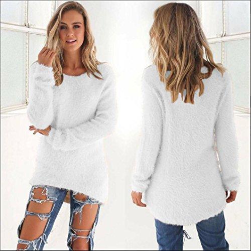 Rcool Mujer Otoño Primavera Suéter Loose Pullover Suéteres Jerseys Manga Larga Camiseta Tapas Blusa blanco