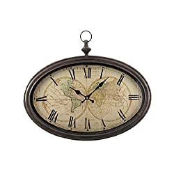 World Map Antiqued Bronze Framed Wall Clock