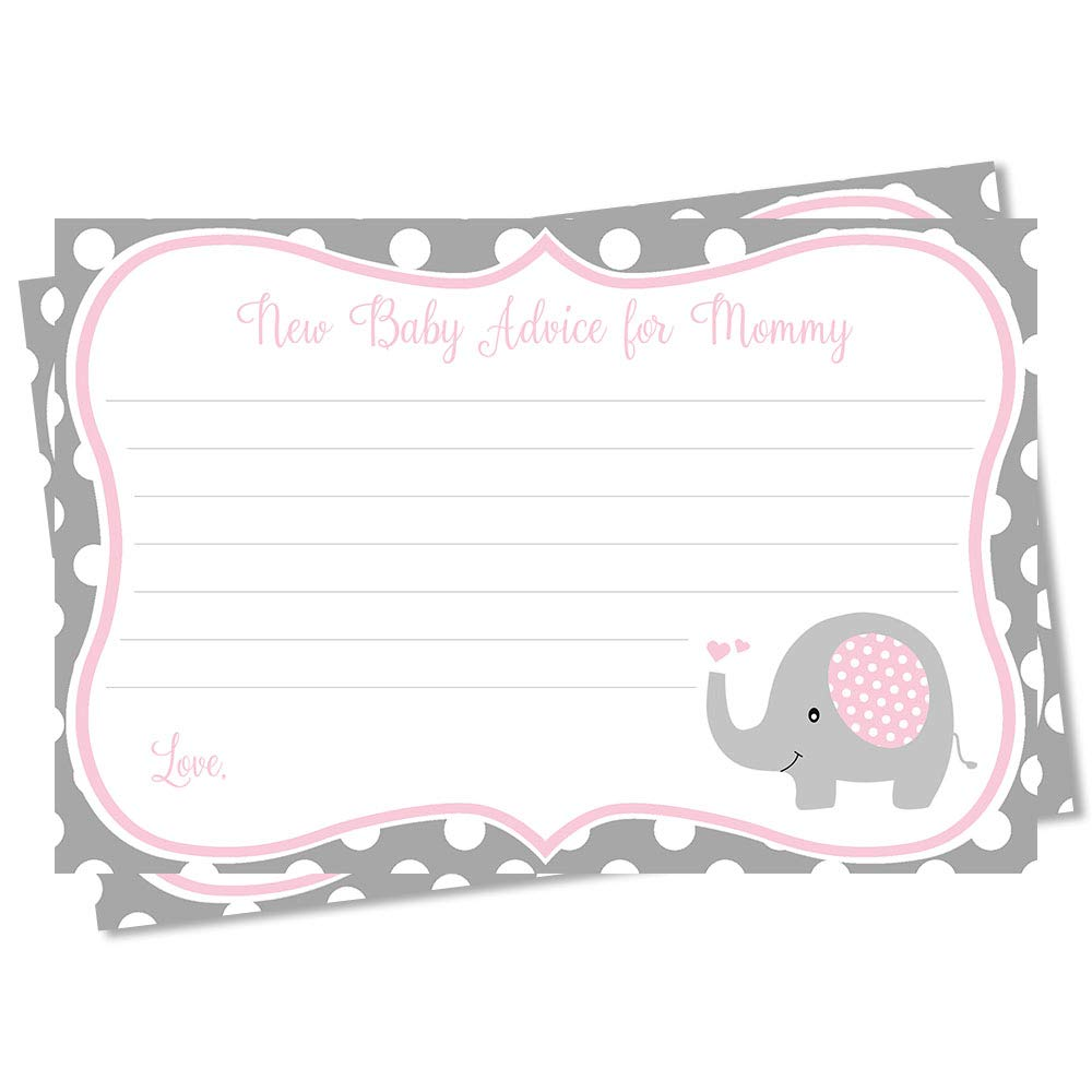 Advice for Mom Elephant Baby Shower Advice Cards Girls Polka Dots Pink Gray Grey It's a Girl Baby Shower Activities Advice New Mom Sprinkle Mommy to Be Printed Advice Cards (24 Count)
