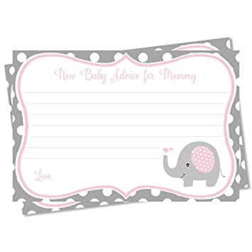 Great For Baby Showers You choose Pink or Blue Elephant Mommy sign and Advice Cards