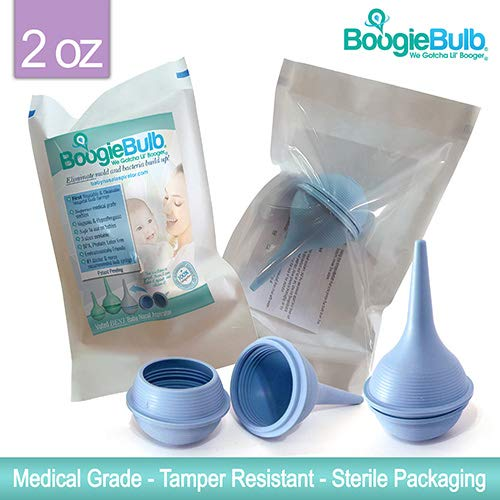 BoogieBulb Baby Nasal Aspirator and Booger Sucker for Newborns Toddlers & Adult - BPA Free - Blue 2 Ounce Bulb Syringe - Safe Nose Cleaner - Cleanable & Reusable Ear Syringe Nose Sucker