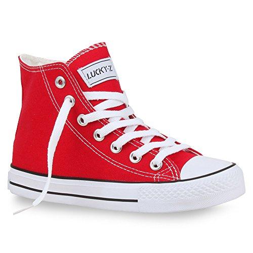 Damen Unisex Flandell high Herren Übergrößen Stiefelparadies Sneaker Rot 75qqO