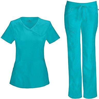 Amazon Com Cherokee Infinity Conjunto De Uniforme Medico Para Mujer 2625a Mock Wrap Top 1123a Con Cordon De Pierna Recta De Talle Bajo Azul Azulado X Small Xsmall Pequeno Clothing