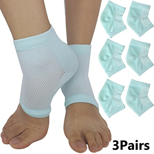 Moisturizing Cracked Heel Socks - Treat Dry Heels Fast Pain Relief from Cracking Feet with these Gel Heel Protector Pads for Women and Men by ARMSTRONG AMERIKA (3 Pairs)