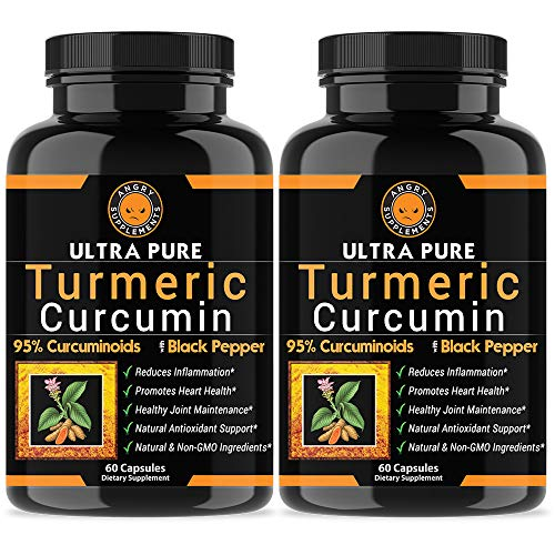 (Angry Supplements Ultra Pure Turmeric Curcumin with BioPerine, Black Pepper Extract, 95% Curcuminoids, Best All Natural Powerful Antioxidant, Non-GMO, Joint Support, Heart Heath, Pain Relief (2-Pack))