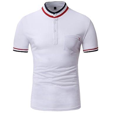 POachers Polo Homme Slim Fit Ete Chemise à Pois pour Homme Casual Sport T-Shirt Manche Courte Polo Shirts Mode Mince Fit Tee Tops Taille M-3XL (3XL, Marine)